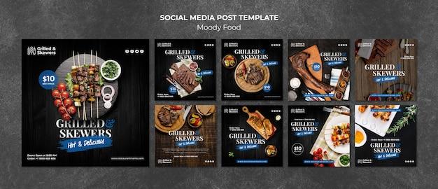 Gegrillte aufsteckspindelnrestaurantsocial media-beitragsschablone Kostenlosen PSD
