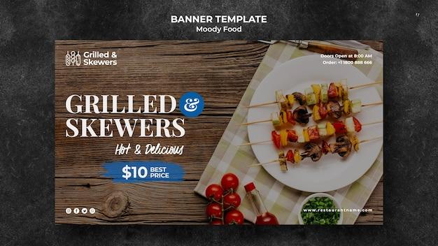 Gegrilltes steak und gemüse restaurant banner vorlage Kostenlosen PSD