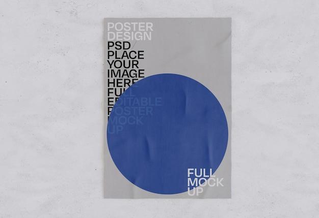 Geklebtes papierplakat zerknittertes modell Kostenlosen PSD