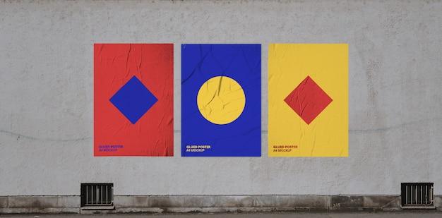 Geklebtes poster mockup Kostenlosen PSD