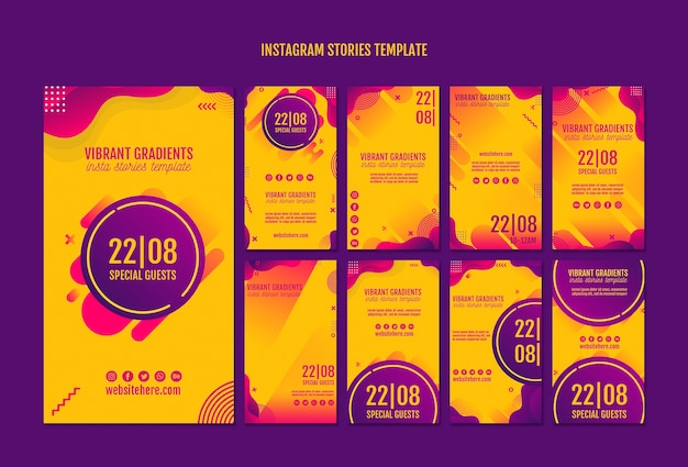 Gelbe instagram geschichtenschablone des musikfestivals Kostenlosen PSD
