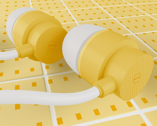 Gelbe kopfhörer mit weißem kabel Kostenlosen PSD