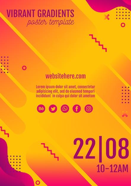 Gelbe plakatschablone des musikfestivals Kostenlosen PSD