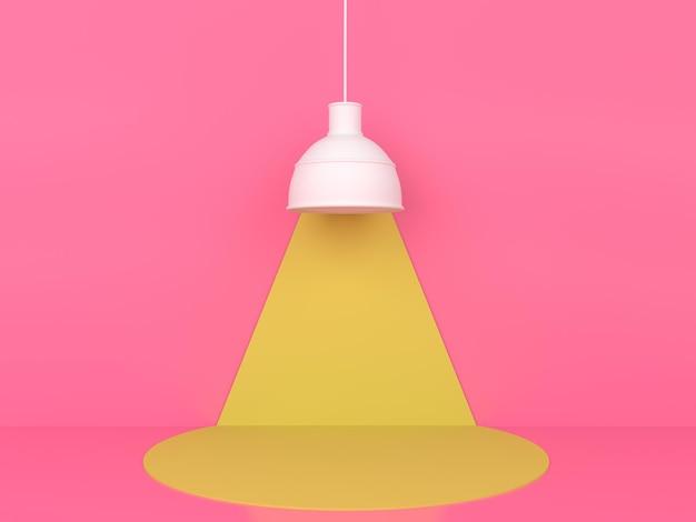 Gelbe podestanzeige der geometrischen form in der rosa pastellhintergrund-3d-wiedergabe Premium PSD