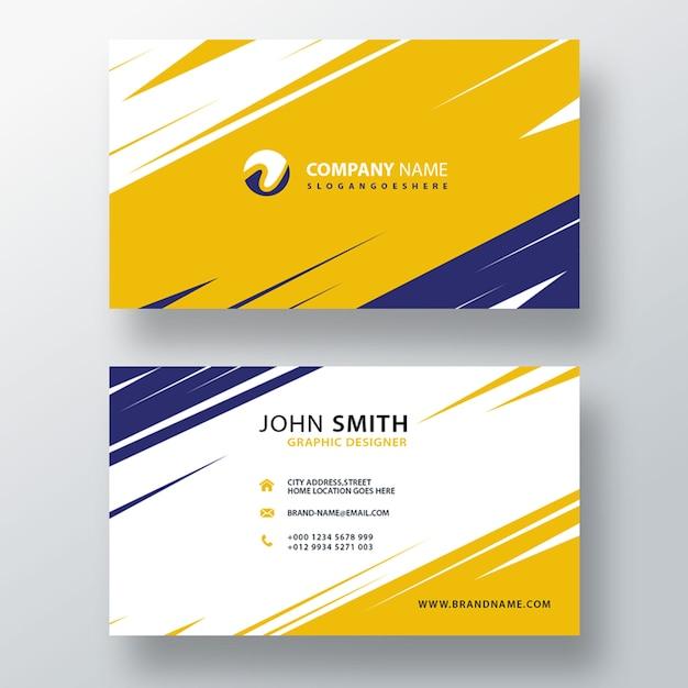 Gelbe und blaue visitenkarte Kostenlosen PSD