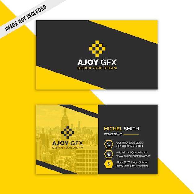 Gelbe unternehmensvisitenkarte Premium PSD