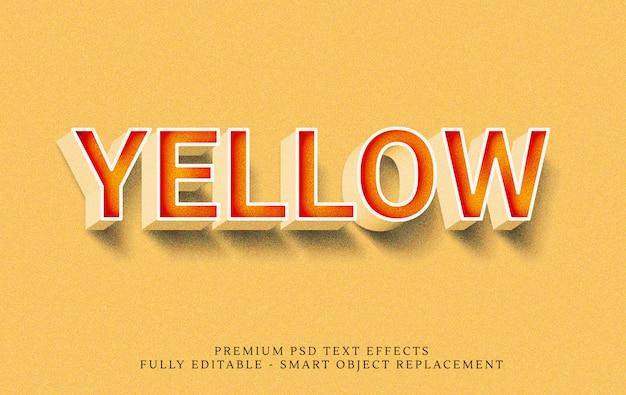 Gelber art-effekt psd des textes 3d Premium PSD