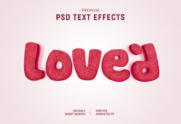 Geliebter valentine text style effect auf weiß Premium PSD