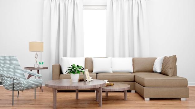 Gemütliches wohnzimmer mit braunem sofa, mitteltisch und großem fenster Kostenlosen PSD