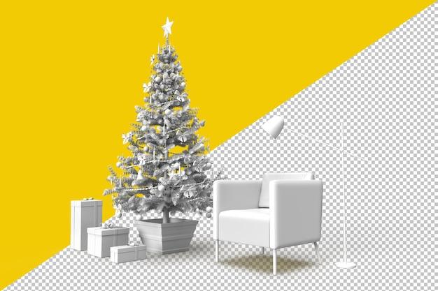 Gemütliches zimmerinterieur mit weihnachtsbaum und geschenken Premium PSD