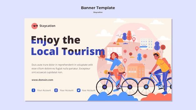 Genießen sie das lokale tourismus-banner-design Kostenlosen PSD