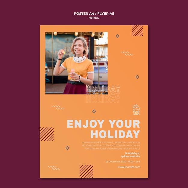 Genießen sie ihre feiertagsplakatdruckvorlage Kostenlosen PSD