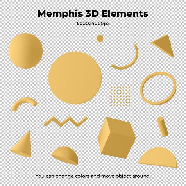 Geometrische 3d-elemente von memphis isoliert Premium PSD