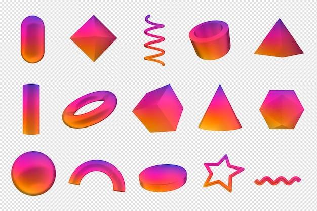 Geometrische formen 3d rendern bunte formen Premium PSD