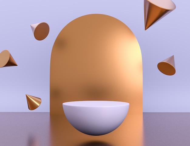 Geometrische lila 3d-szene für produktplatzierung mit messingobjekten in levitation und bearbeitbarer farbe Kostenlosen PSD