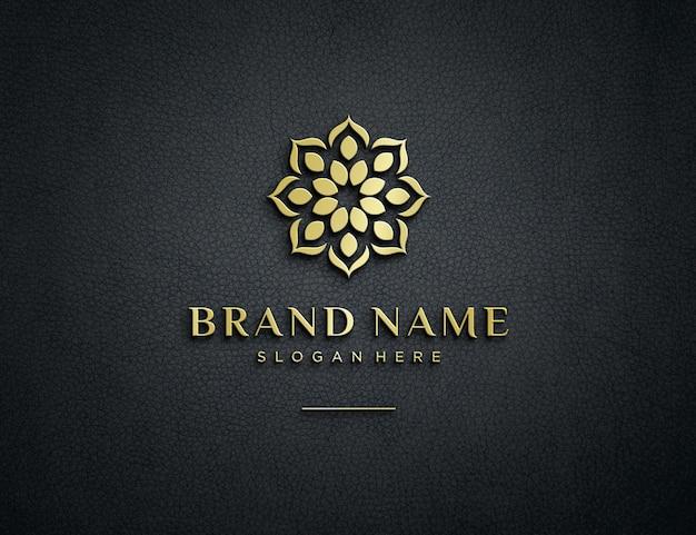 Geprägtes goldenes logo-modell auf strukturiertem leder Premium PSD