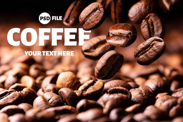Geröstete fallende kaffeebohnen auf schwarzem Premium PSD
