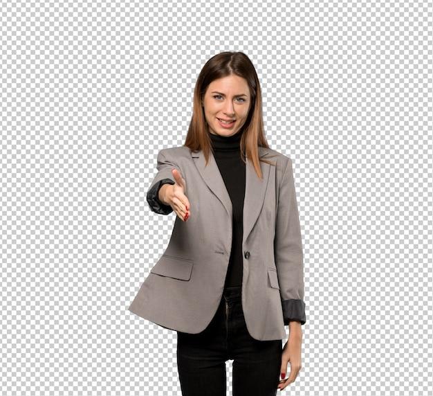 Geschäftsfrau, die hände für das schließen ein gutes geschäft rüttelt Premium PSD
