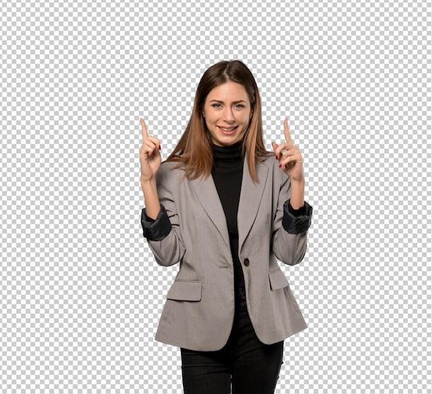 Geschäftsfrau, die mit dem zeigefinger eine großartige idee zeigt Premium PSD
