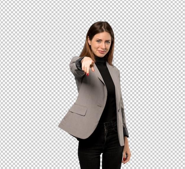 Geschäftsfrau zeigt finger auf sie mit einem überzeugten ausdruck Premium PSD