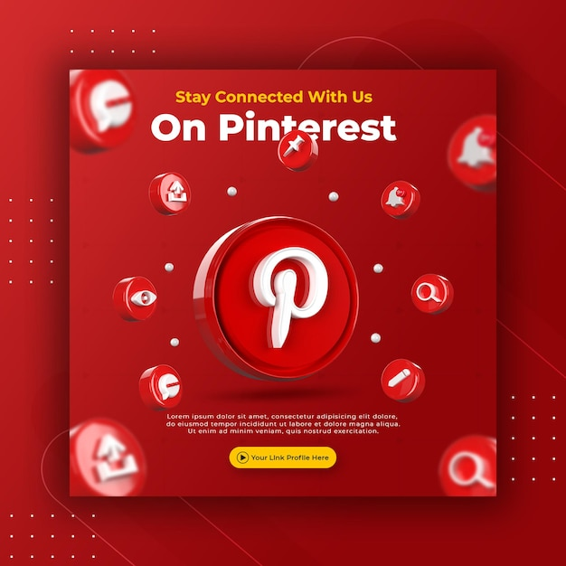 Geschäftsseitenwerbung mit 3d rendern pinterest für instagram-beitragsvorlage Premium PSD