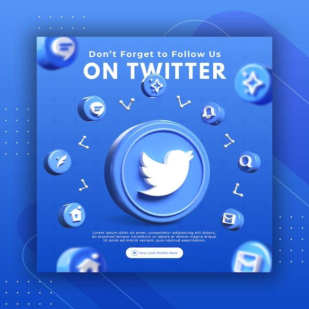Geschäftsseitenwerbung mit 3d rendern twitter für instagram-beitragsvorlage Premium PSD