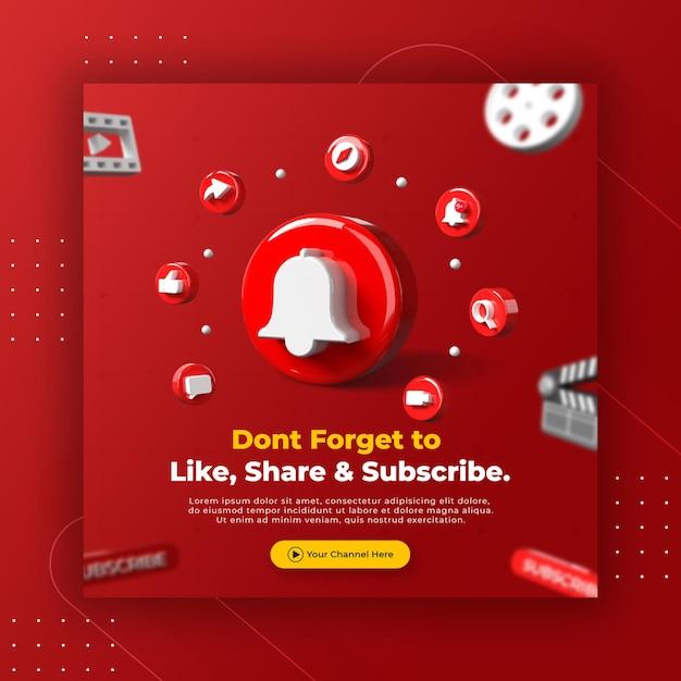 Geschäftsseitenwerbung mit 3d rendern youtube logo für instagram postvorlage Premium PSD