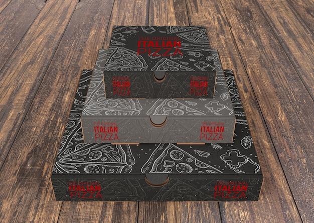 Gestapelte pizzakartons modell Kostenlosen PSD
