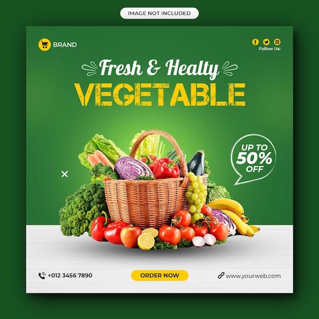 Gesundes essen gemüse social media beitrag Premium PSD