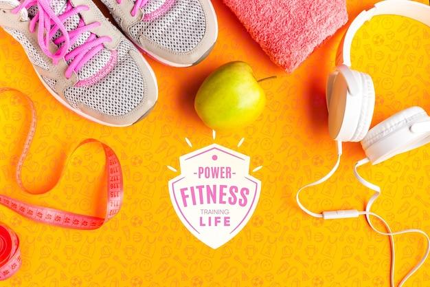 Gesundes obst und fitnessgeräte Kostenlosen PSD