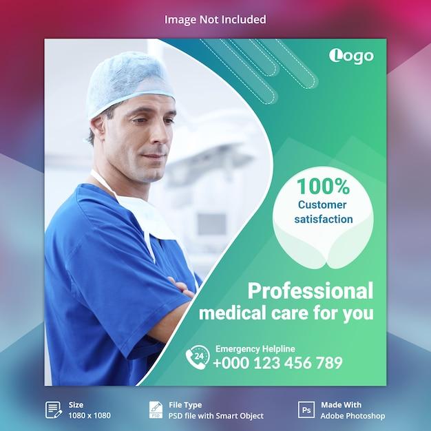 Gesundheitsfahnenschablone für social media Premium PSD