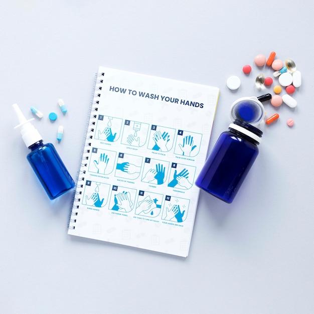 Gesundheitsmedizin auf dem tisch Kostenlosen PSD