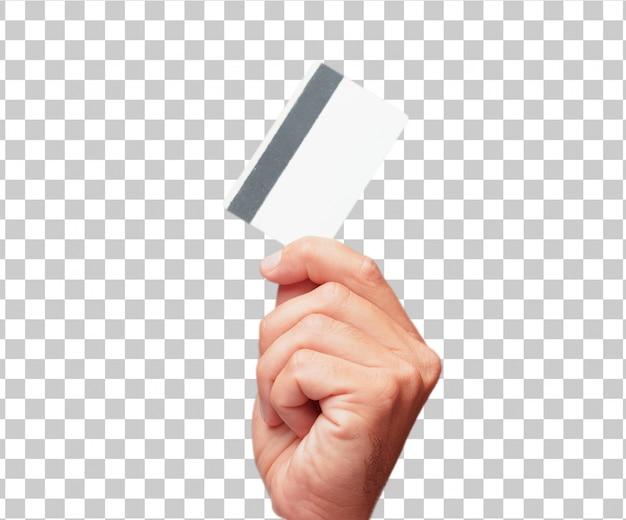 Getrennte männliche hand, die eine kreditkarte anhält Premium PSD