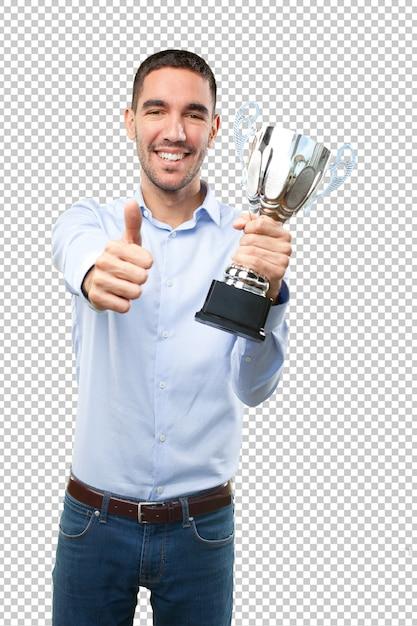 Gewinner junger mann mit zustimmung geste Premium PSD