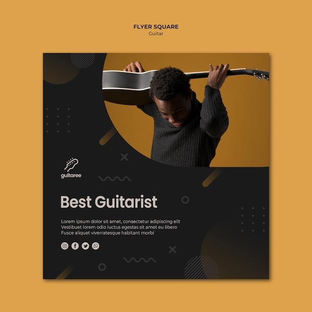 Gitarrenspieler square flyer design Premium PSD