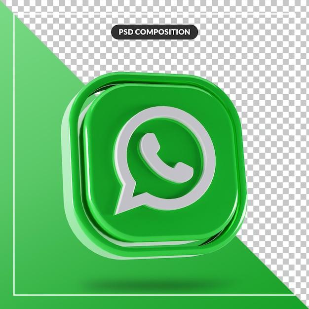 Glänzendes whatsapp-logo isolierte 3d-design Premium PSD