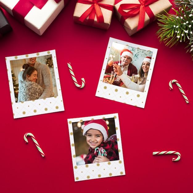 Glückliche familienfotos der draufsicht auf weihnachten Kostenlosen PSD