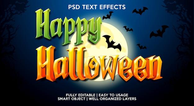 Glückliche halloween-texteffektschablone Premium PSD