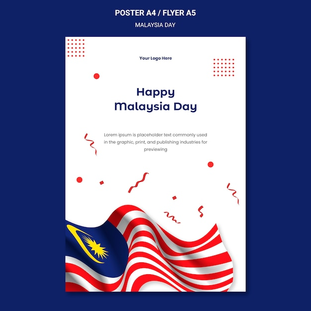 Glückliche malaysia-tagesplakatschablone Kostenlosen PSD