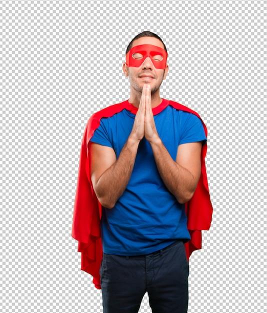 Glücklicher betender superheld Premium PSD