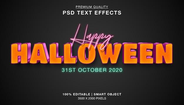 Glücklicher halloween-texteffekt Premium PSD