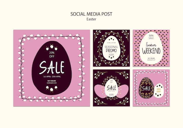 Glücklicher ostern-verkaufs-social media-beitrag Kostenlosen PSD