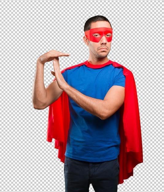 Glücklicher superheld mit pausenzeitgeste Premium PSD