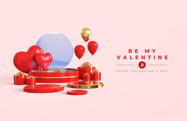 Glücklicher valentinstag mit podium für produktpräsentation und 3d-komposition Premium PSD