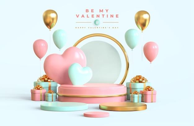 Glücklicher valentinstag mit podium und romantischer kreativer 3d-komposition Premium PSD