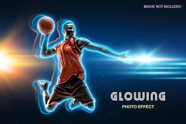 Glühende neonumriss-fotoeffektschablone Premium PSD