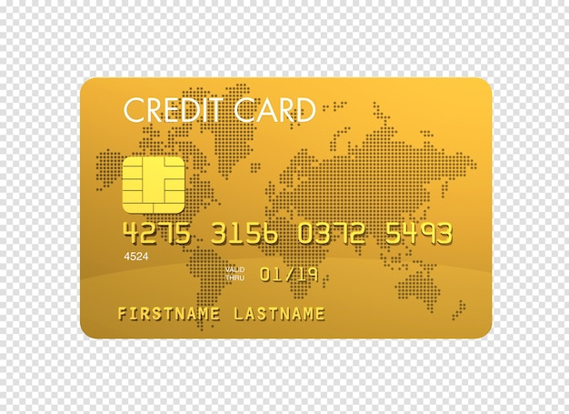 Gold kreditkarte 3d-render isoliert Premium PSD