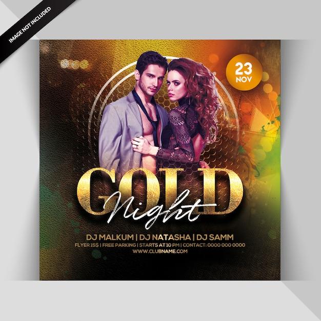Gold nacht party flyer Premium PSD