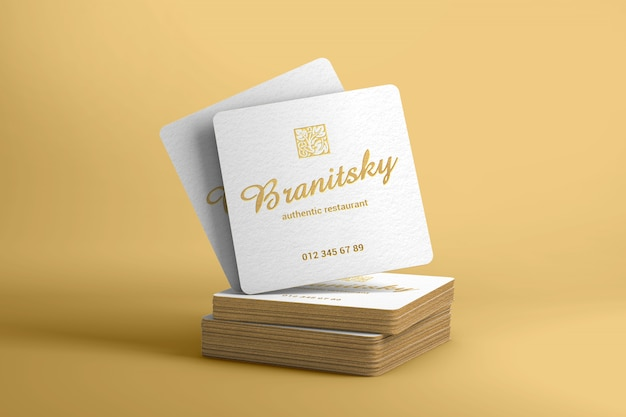 Gold umrandet quadratisches visitenkartemodell Premium PSD