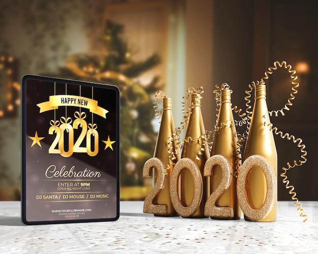 Goldene champagnerflaschen für nacht des neuen jahres Kostenlosen PSD
